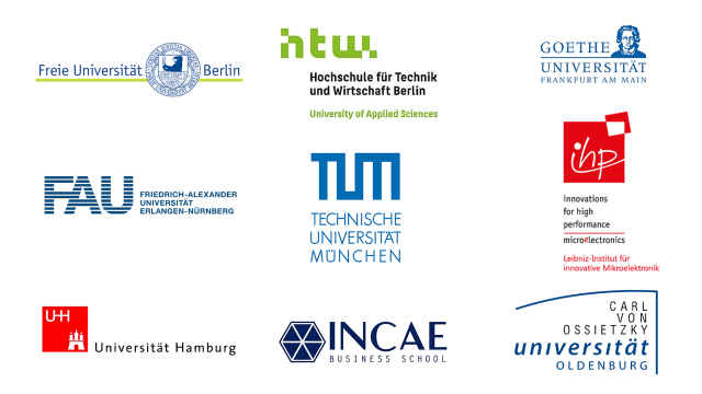 Clientes de deZem del sector Universidades: Freie Universität Berlin, Hochschule für Technik und Wirtschaft Berlin, Goethe Universität, Friedrich Alexander Universität, Technische Universität München, Innovations for high performance microelectronics, Universität Hamburg, INCAE Business School, Carl von Ossietzky Universität Oldenburg